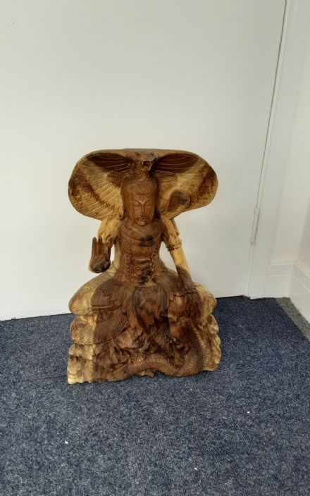 Hand carved teak Shiva with Cobra
